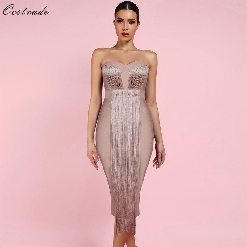 Ocstrade Summer Vestidos Bandage 2019 New Women Midi Bandage Dress Rayon Nude Tassel Fringe Sexy Strapless