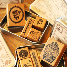 4PCS Handmade French Wooden Stamp DIY Diary Photo Album Craft Decorative Scrapbooking Wood Stamp Retro Stationery Rubber Stamps 12 pcs set cute wooden box diary stamp set wood stamps for kids decor diary diy scrapbooking rubber stamp letters