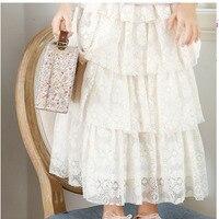 Dentelle peu adolescente filles jupes longtemps posé beige maxi longue jupe fille coton d'été automne bonne qualité vêtements pour enfants