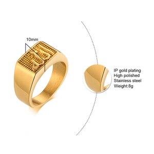 Image 5 - נירוסטה גברים של האסלאמי אללה חותם טבעת בזהב טון כיכר שחאדה ערבית תכשיטים