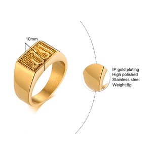 Image 5 - Stainless Steel Mens Islamic Allah Signet Ring In Gold Tone Square Shahada Arabic Fashion Jewelry