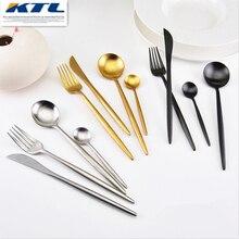 KuBac 4Pcs Golden/Black/Silver Top Quality Stainless Steel Cutlery Steak Knife Fork Party Dinnerware Gold Cutlery Set Tableware