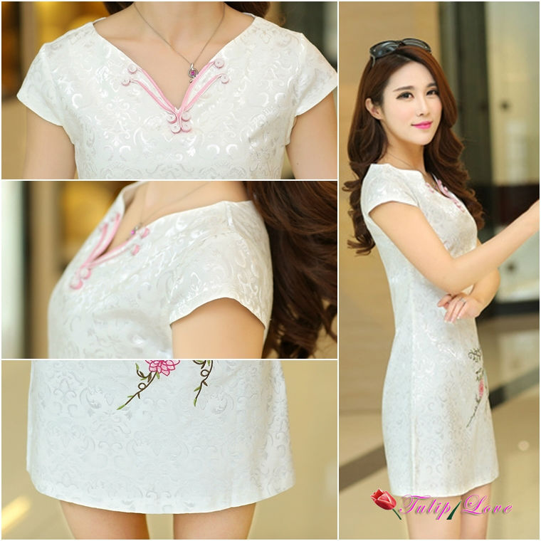 e001ac3ce631 V neck design chinese vintage cotton qipao dresses for women