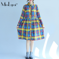 MissLymi L XL Women Plaid Shirt Ruffle Dress Yellow 2017 Autumn British Style Buttons Single Breasted