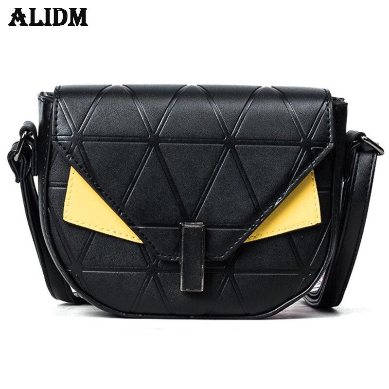 ALIDM Ms. Monster Bag 2018 New Wild Fashion Saddle bag Hit color Handbags Summer Shoulder Messenger Bag