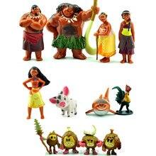 12 pçs/lote Moana Maui Chefe Tui Sina Ação PVC Figuras Gramma Tala Heihei Estátua Figurinhas Anime Bonecas Crianças Brinquedos para Crianças