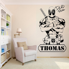 Wall Decoration Deadpool Room Decal Kidsroom Boys Sticker Vinyl Removeable Poster Comics Personalized Name Design Mural LY295 5 0 inch 1080p car rear view camera with monitor car dvr video recorder rearview mirror monitor auto dimming parking monitoring