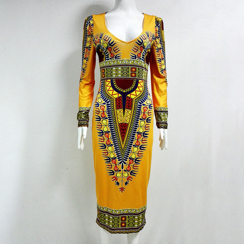 Women African Ankara Dashiki Print Bodycon Pencil Dress Back Hole Open Slim Wedding Dress V-Neck Low Cut Wear For Ladies L-XXL