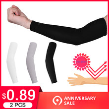 2 Pcs Arm Sleeves Warmers Safety Sleeve Sun UV Protection Sleeves Long Arm Cover Cooling Warmer for Running Golf Cycling Summer(China)