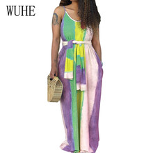 WUHE Womens Loose Summer Beach Gallus Sleeveless Spaghetti Strap Floor-Length Long Dress Elegant Vintage Maxi Vestidos