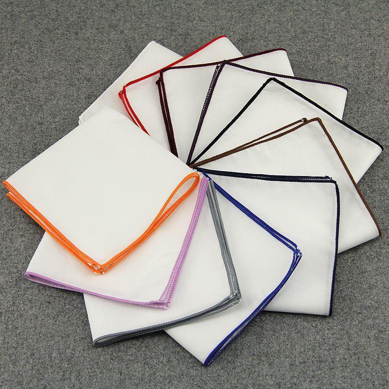 Fashion Men 's Cotton White Handkerchief Colorful Rim Pocket Square For Men Women Party Wedding Groom Suit Pocket Towel