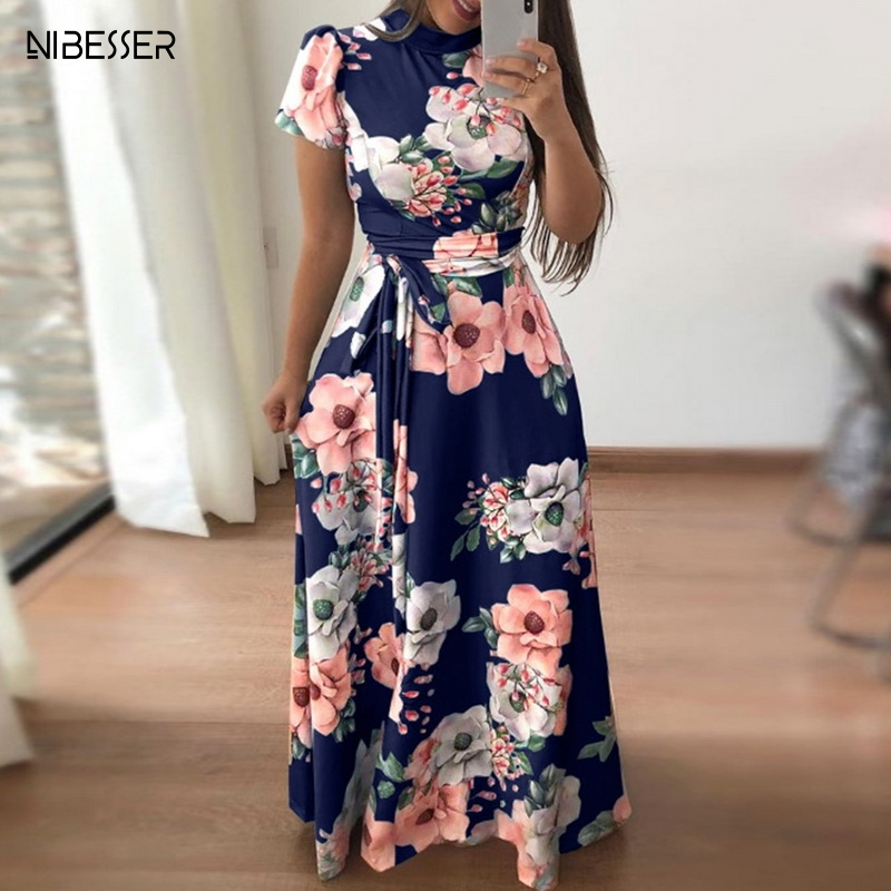NIBESSER 2019 Floral Print Long Dress High Waist Short Sleeve Women Maxi Dress Casual Basic Long Dress Charming Flower Dresses