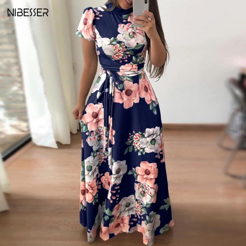 NIBESSER 2019 Floral Print Long Dress High Waist Short Sleeve Women Maxi Dress Casual Basic Long Dress Charming Flower Dresses