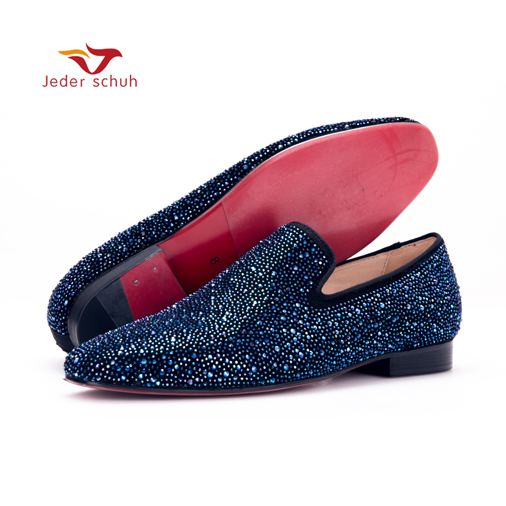Jeder Schuh men leather shoes with Night sky color hinestones Prom and Banquet men casual loafers