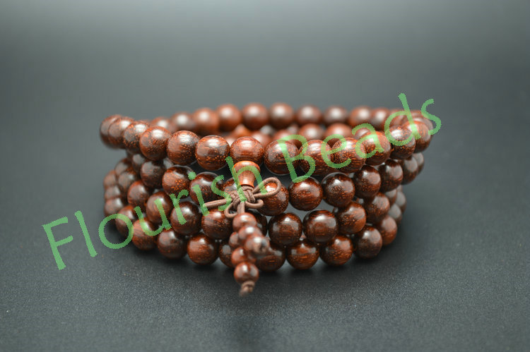 8mm Indian Pterocarpus Santalinus Wood Round Beads Unisex Mala Prayer Bracelet Jewelry Free Shipping