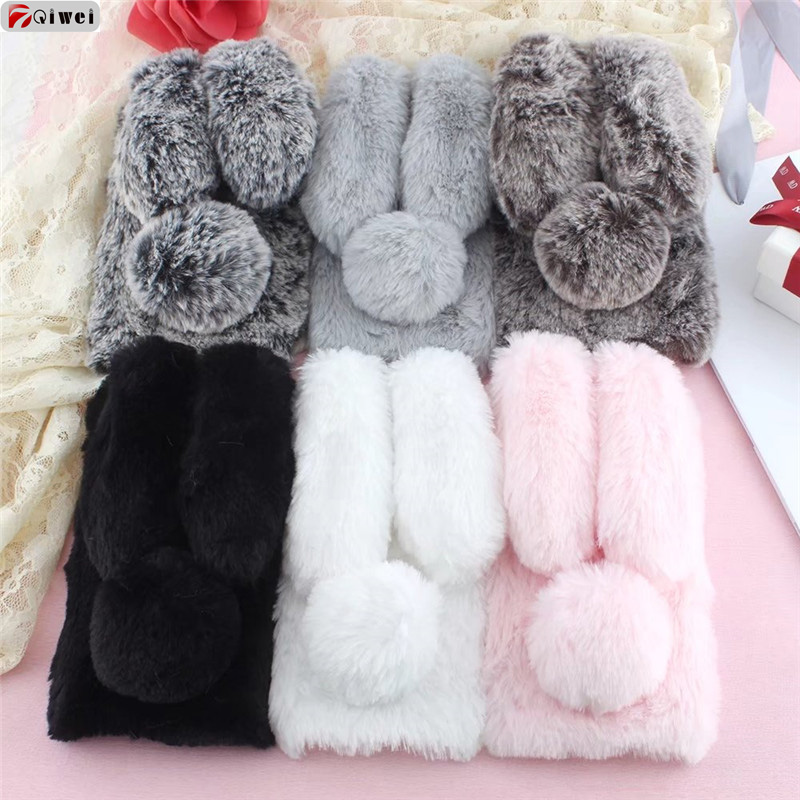 For Samsung J5 J3 J7 2017 Case Cute Rabbit Doll Plush Cover Hairy Fur Fluffy Phone Case For Samsung Galaxy J3 J5 J7 2017 EU Capa
