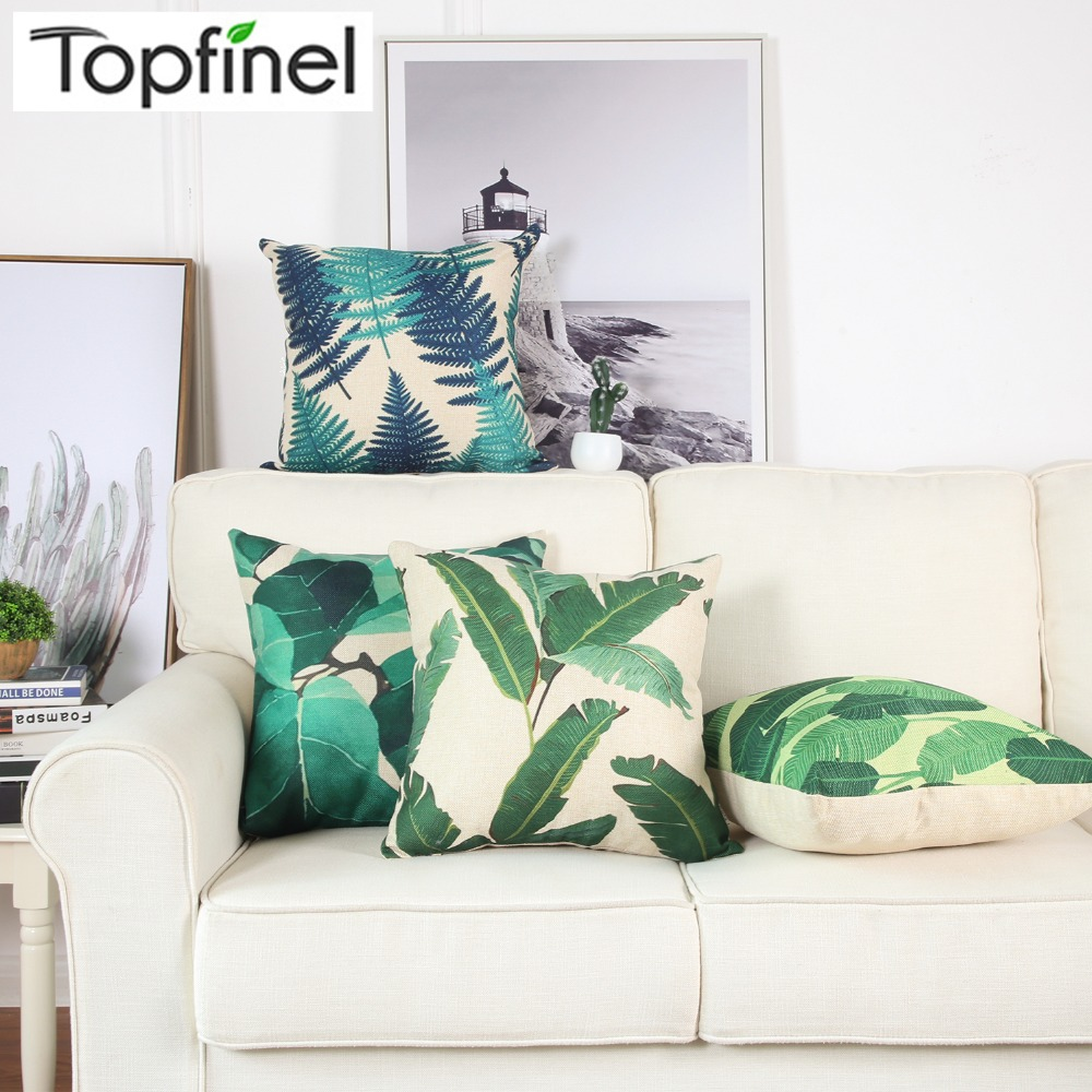 Topfinel <font><b>Palm</b></font> Leaves Blue Printed Cheap Cushion Covers Cotton Linen Throw Pillowcases Cover for Sofa Chair <font><b>Bed</b></font> Home Decor 45x45