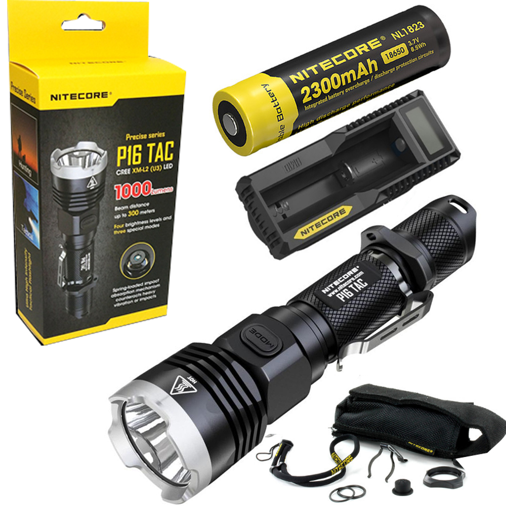 Nitecore P16 TAC 1000 Lumens CREE XM-L2 U3 LED Tactical Flashlight Hunting Search Torchs with 2300mAh 18650 battery and charger lumintop tactical flashlight p16x 18650 flashlight with battery with cree xm l2 led torch type max670 lumens