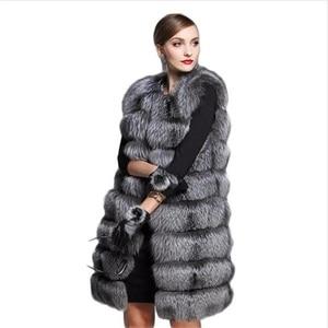 European Style 2019 Fashion new faux fur coat women's fur vest silver fox hair Fur Coat Women size 6XL