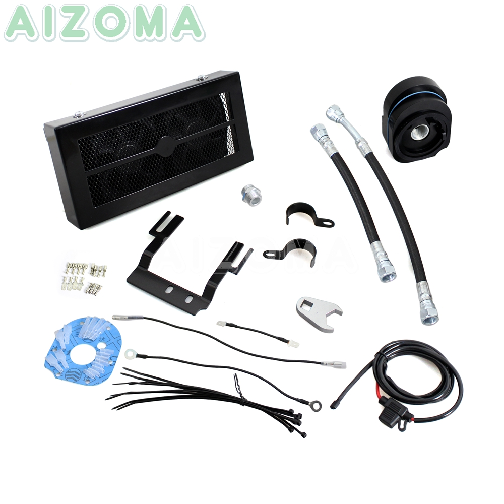 Black Motorcycle Oil Cooler Fan Cooling System w/ Oil Filter Funnel Kit For Harley Softail Fat Boy FLSTF FLSTC FXST FLST 07 17