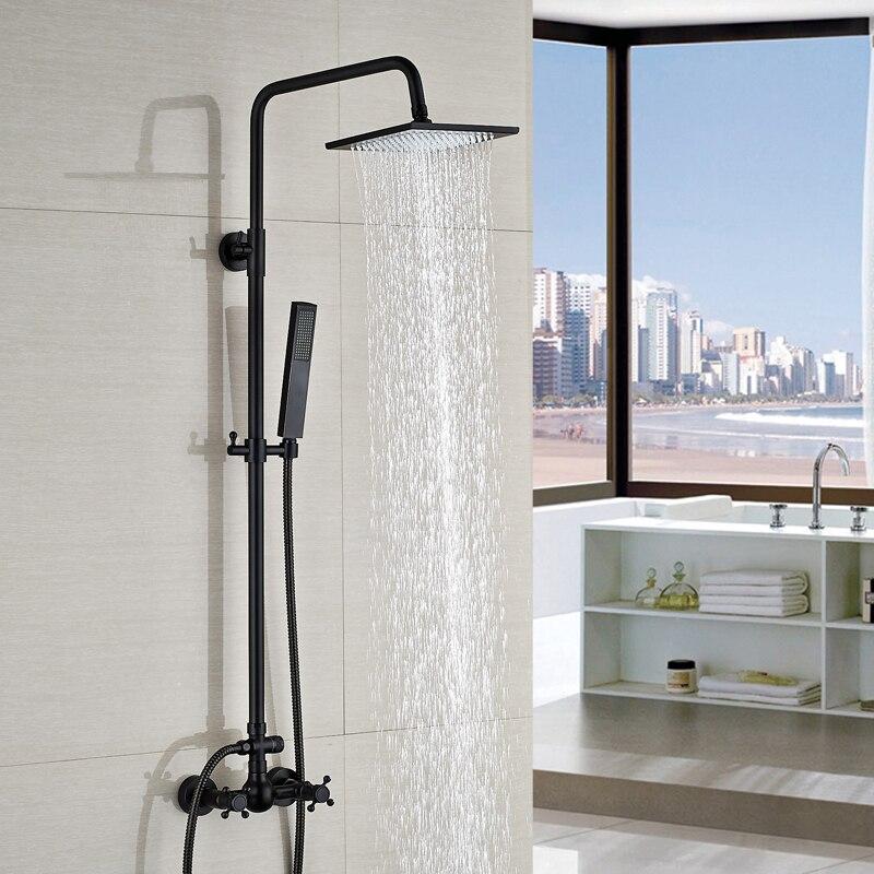 Wall Mount 8 Square Rainfall Shower Mixer Taps Dual Cross Handles Bath Shower Faucet Oil Rubbed Bronze