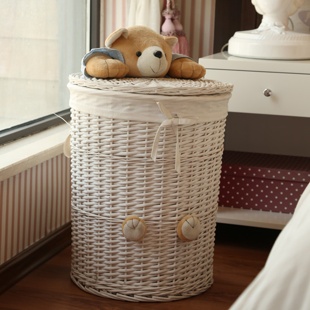 Woven Wicker Baskets Round Laundry Hamper Sorter Storage Basket with Bear  Head Lid Small large laundry basket for clothes panier-in Storage Baskets  from ...