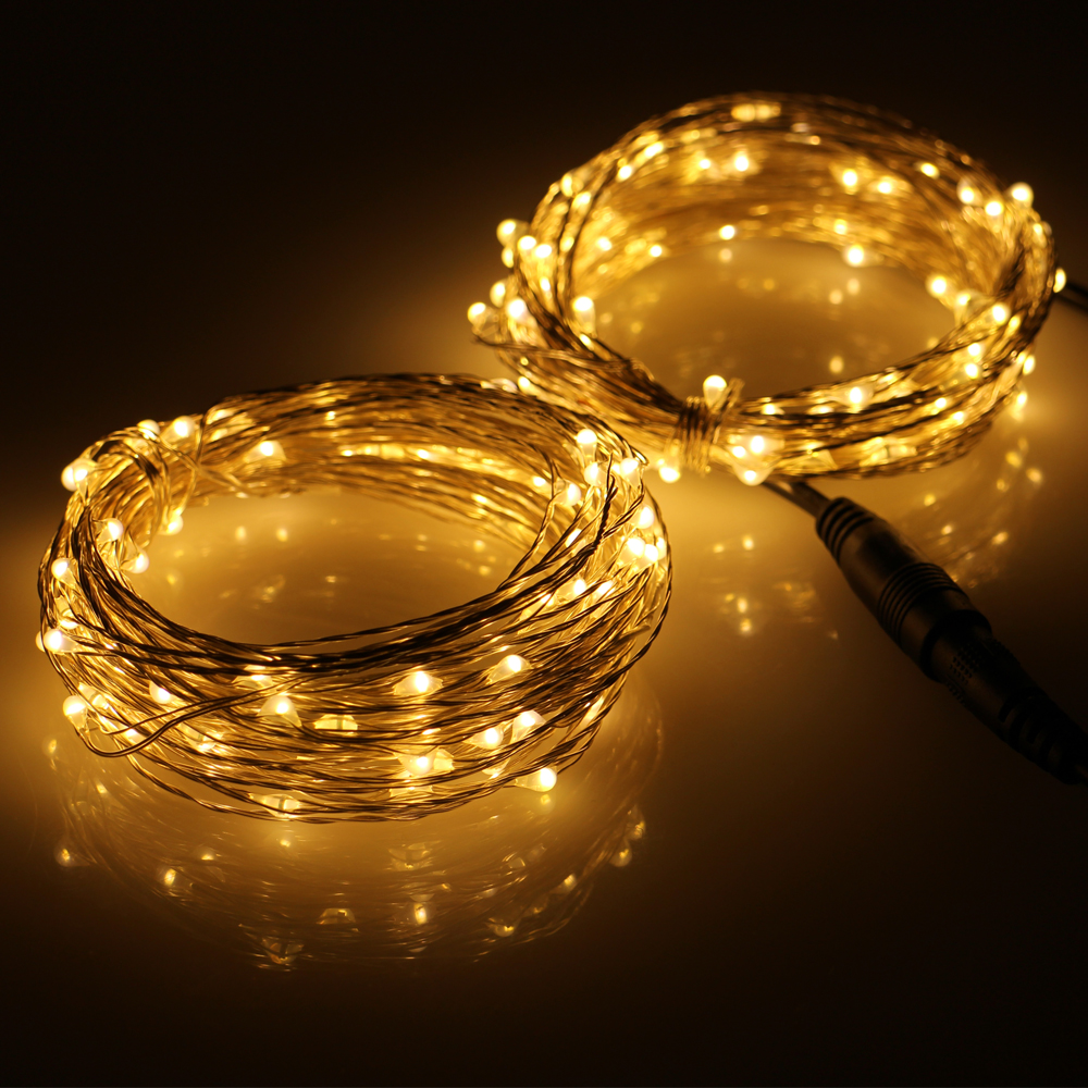 connectable 2 33ft 100 led string lights outdoor silver wire 200 led warm white light power. Black Bedroom Furniture Sets. Home Design Ideas