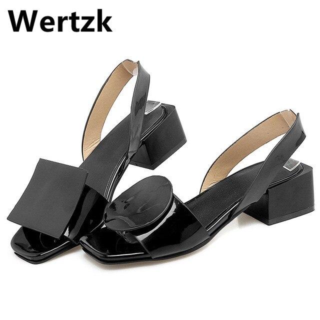 Wertzk Women Sandals Geometric Square-Toe High-Heels Femme Slingbacks One-Strap Summer
