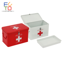 Home First Aid Box Red White Metal Iron 2 Layers Medicine First Aid Kit Storage Case Emergency Kits Security Safety