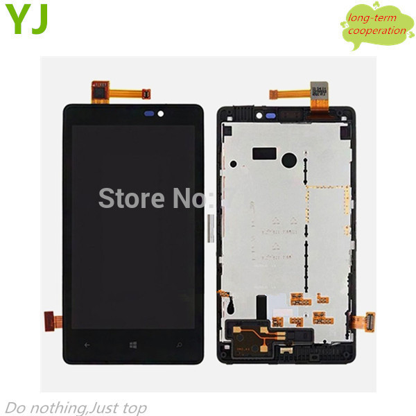 HK free 100% tested OEM LCD Touch Screen Digitizer Assembly with Front Housing for Nokia Lumia 820