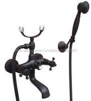 Wall Mounted Bathtub Faucet Black Brass Tub Sink Faucet Telephone Style Bathroom Bath Shower Set with Handshower Ktf608