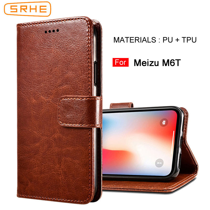 SRHE For Meizu M6T Case Cover Flip Luxury Leather Wallet Silicone Magnet Case For Meizu M6T 5.7 inch Cover Price $4.99