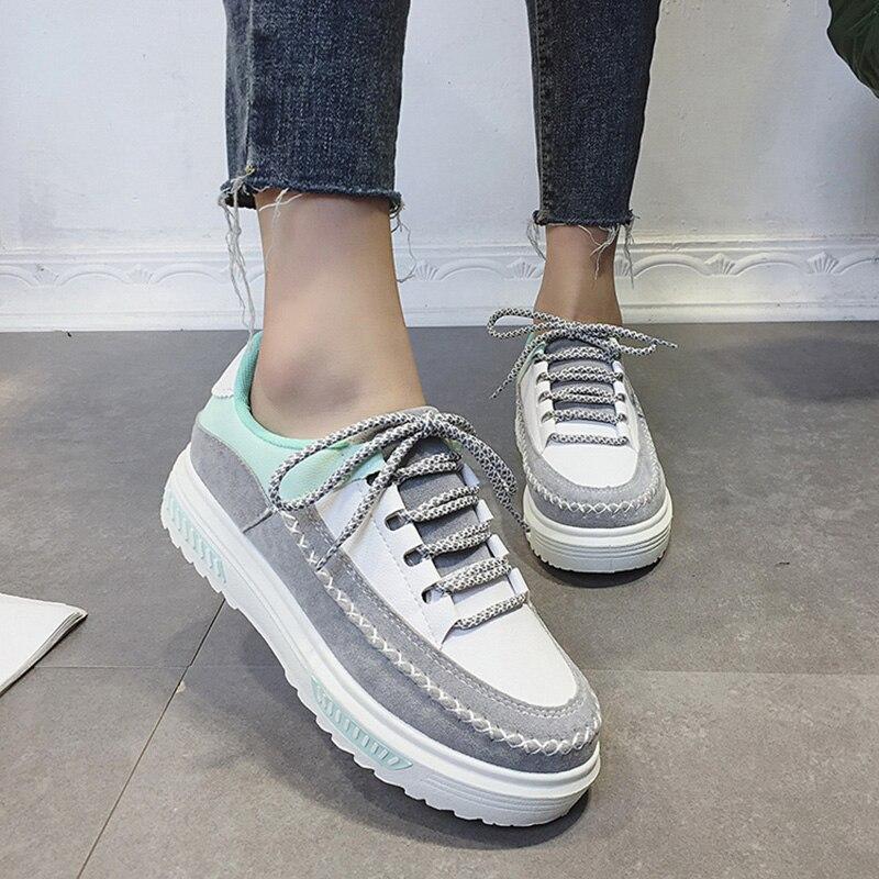 Mujeres Zapatos Planos de Cuero de Gamuza Mujer cosidos A Mano Otoño Nuevo Cuero