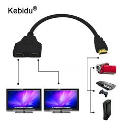 kebidu Fasion HDMI Male To Female 2 HDMI Splitter Double Signal Adapter Converter Cable 1 in 2 out for Video TV HDTV Wholesale