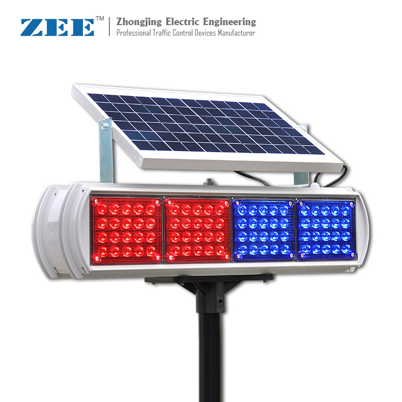 Solar High Flux LED Road Hazard Warning Light Double Side Red & Blue Caution
