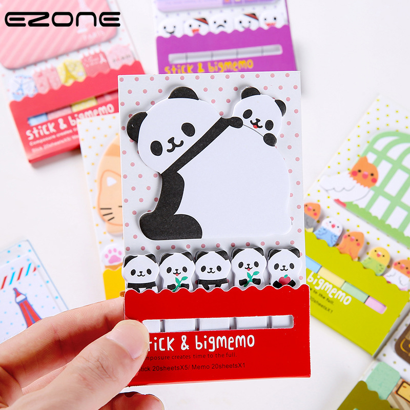 EZONE Cute Cartoon Sticky Notes Kawaii Animal Printed Panda/Eiffel Tower/Ghost Face Memo Pad Rectangle School  Office Supplies