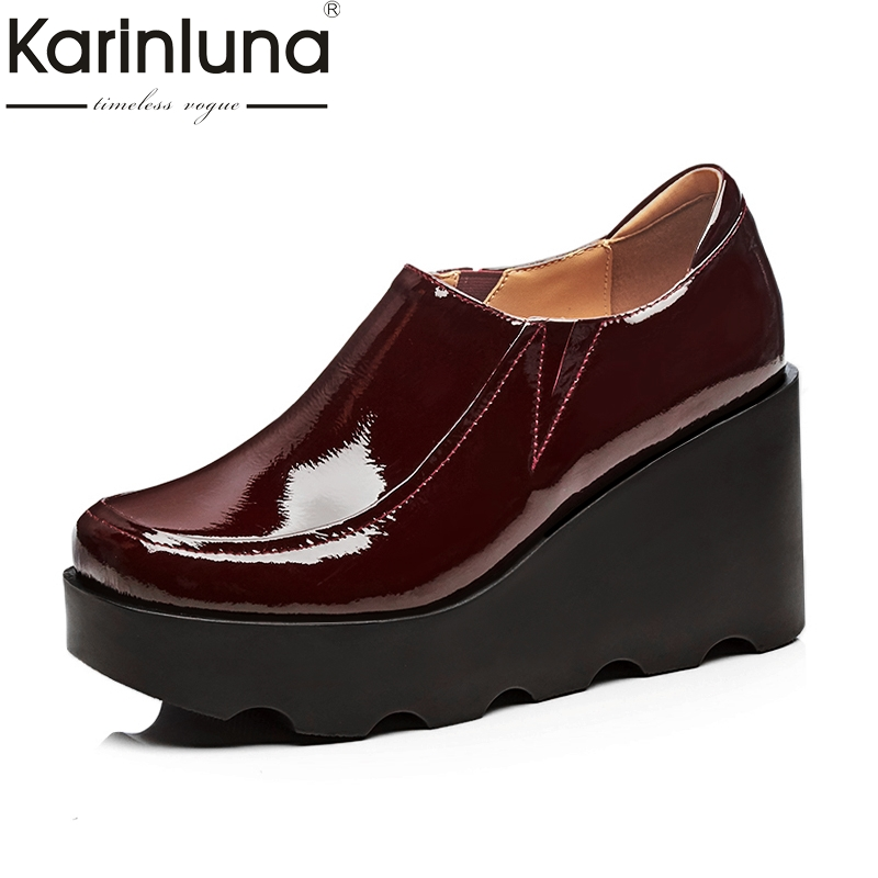 KARINLUNA Cow Leather 2018 Size 34-39 Wedge High Heels Slip On Black Shoes Women Shoes Round Toe Platform Woman Pumps nayiduyun women casual shoes low top platform wedge high heels boots round toe slip on pumps punk chic shoes black white sneaker