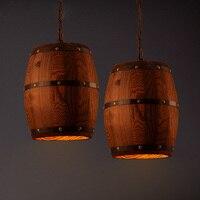 New American Loft En Bois Baril Pendentif Lampe Campagne Vintage Restaurant Foyer de Décoration Droplight Suspendus Lumières PL557