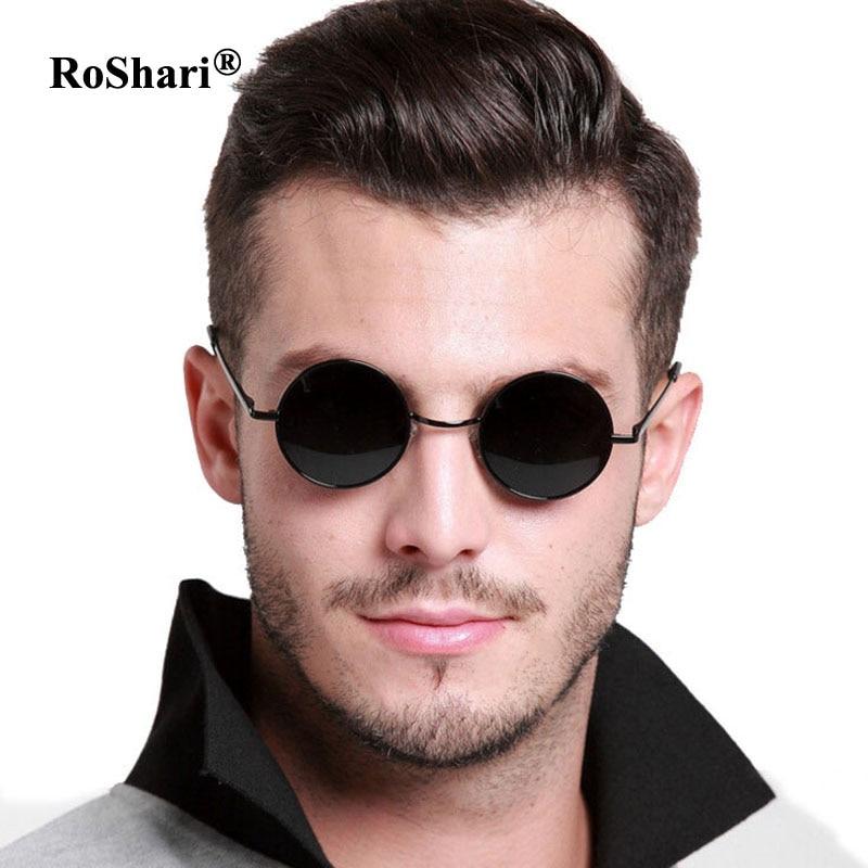 RoShari Vintage Steampunk gepolariseerde zonnebril vrouwen merk ontwerp mannen Ronde zwart frame zwarte lens zonnebril mannen gafas de sol
