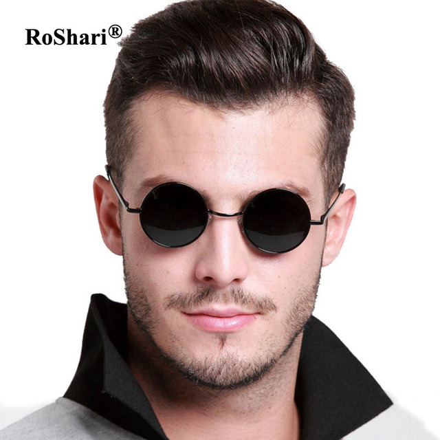 42f299ce361 RoShari Vintage Steampunk polarized sunglasses women brand design men Round  black frame black lens Sun glasses men gafas de sol