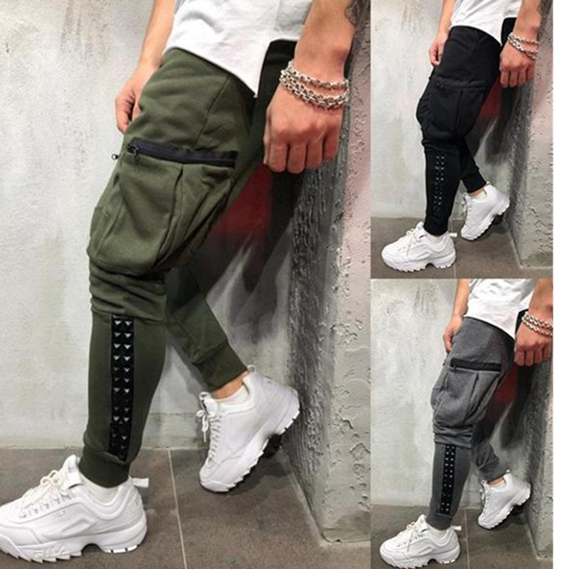 2019 New Hot Style Hip-hop Small Feet Personality Patchwork Leather Men's Tether Workout Men Pants