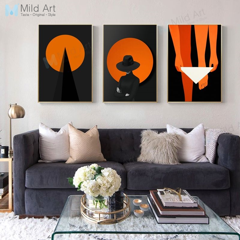 Black Orange Modern Abstract Shape Birds Hipster Poster Print Nordic Living Room Bar Wall Art Picture Cafe Decor Canvas Painting Painting Calligraphy Aliexpress