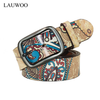 2016 The New Trend Of Men And Women Fashion Casual Belt Alloy Youth Printing Split Leather