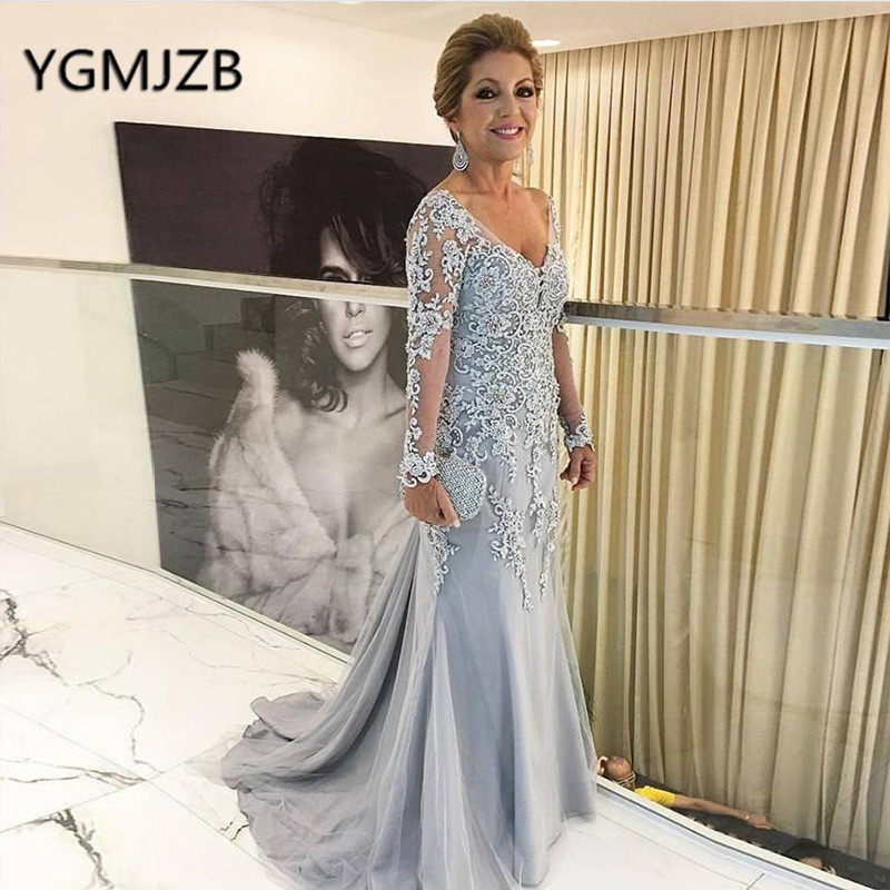 Elegant Lace   Prom     Dresses   2019 Mermaid V Neck Illusion Long Sleeve Appliques Evening   Dresses   Women Formal   Dress   Party Gown