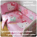 Discount! 6/7pcs Hello Kitty Cotton Bed Linen Quilt Cover Pillow Cot Bumpers Crib Set for Baby Boy and Girl,120*60/120*70cm