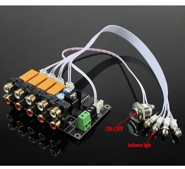 AC/DC 4 giriş 1 çıkış ses giriş sinyali seçici röle kartı Stereo sinyal anahtarlama amplifikatör kurulu RCA hoparlörler