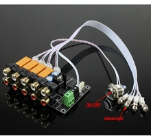 AC/DC 4 input 1 output Audio Input Signal Selector Relay Board Stereo Signal Switching Amplifier Board RCA For Speakers