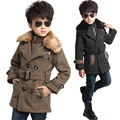 2016 Winter New Boys Overcoat,Fur Collar Thick Cotton-Padded Long Jacket For Boys Winter Jacket,Children Parkas,Height 110-160CM