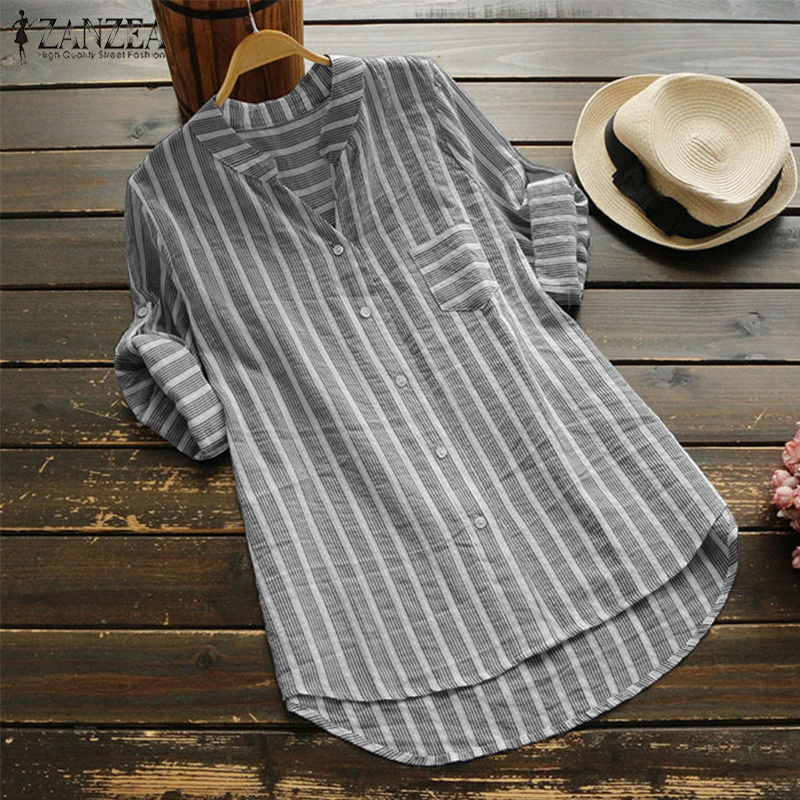 ZANZEA Women Linen   Blouse   2019 Autumn Top Female Casual 3/4 Sleeve   Shirt   Mujer Striped Work Blusa Ladies Sexy V Neck Vestidos