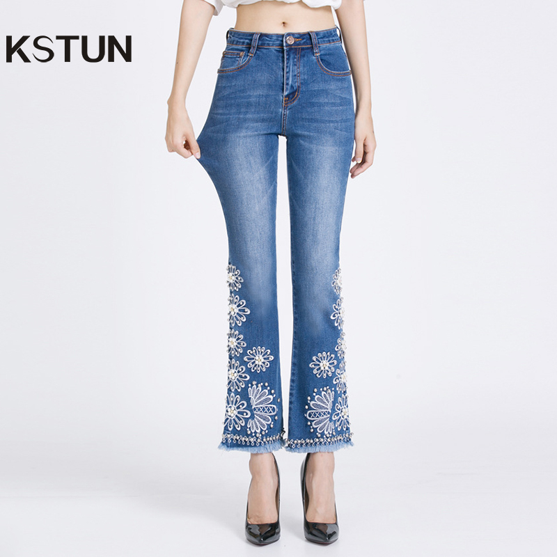 KSTUN women embroidered beaded jeans high quality luxury stretch sexy ladies denim pants bell bottoms flared elegant jeans mujer